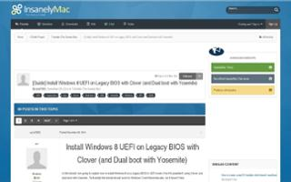 [Guide] Install Windows 8 UEFI on Legacy BIOS with Clover (and Dual boot with Yosemite)